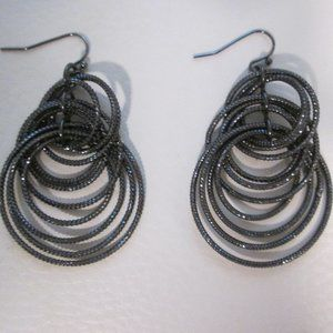 Three Tier Multi Hoop Drop Earrings